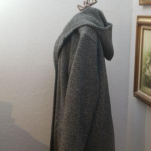 Eddie Bauer wool blend long hooded coat size L